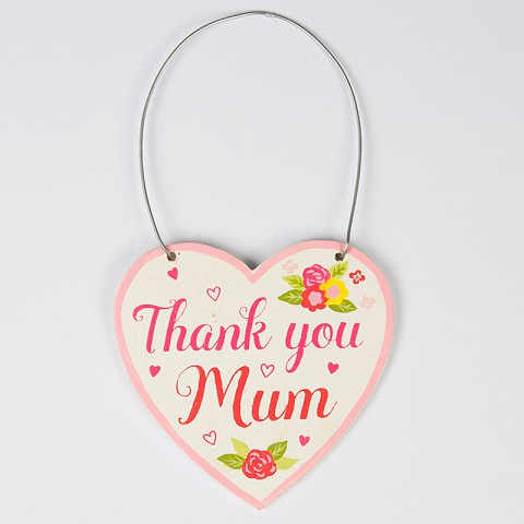 Thank You Mum Floral Heart Mini Plaque