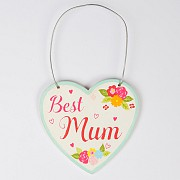 Best Mum Floral Heart Mini Plaque